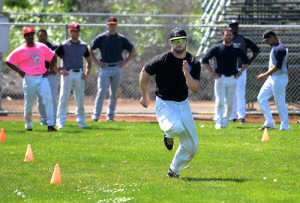 Adam Jones tests his speed as he runs during tryouts for the Admirals on Sunday in Vallejo. Jones finished with the fastest time of the day. (Chris Riley/Times-Herald)